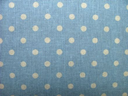 Powder Blue Polka Dot Cotton / Linen Curtain, Soft furnishing, craft fabric